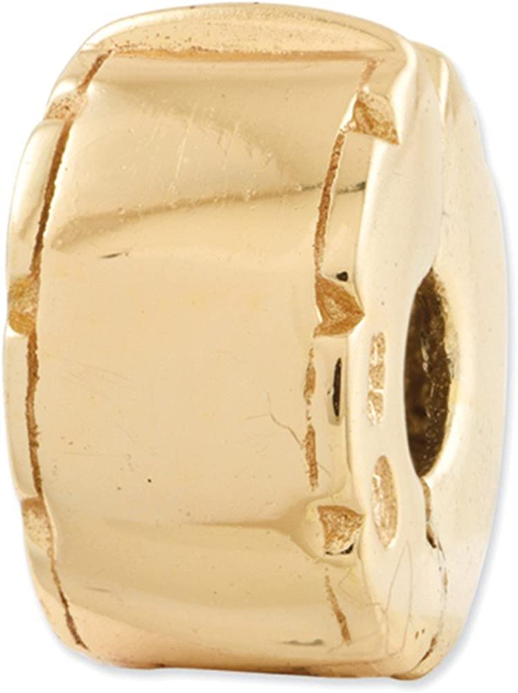 Jewelry Adviser Beads Sterling Silver Gold-plated Reflections Hinged Clip Bead