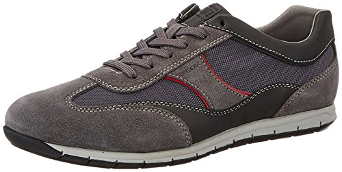 Geox Uomo Active a, Men's Low-Top Charcoal/Red
