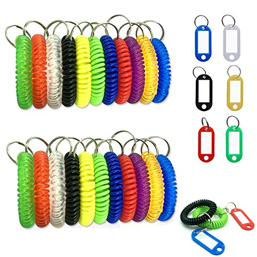 22 pcs Stretch Key Bracelet Coil & 6 Pcs Key ID Tags, CKANDAY 28 Pack Colorful Plastic Spiral Elastic Keychain Wristband and Luggage tag with Split Ring Label Window for Wrist Travel Pet Gym Pool