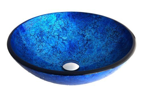 Fontaine Ocean Blue Foil Glass Vessel Bathroom Sink - FSA-VS-PLS44GFI Fontaine Glass Vessel Sink
