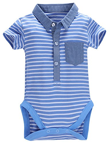 Mobycare Baby Boys Polo Shirt Short Sleeve Bodysuit Formal Onesie (Blue, 6months) (Onesie Striped Bodysuit)