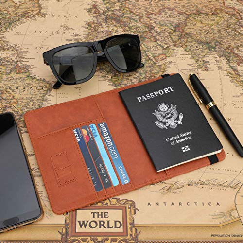 GDTK RFID Blocking Leather Passport Holder Cover Case Travel Wallet Elastic Strap