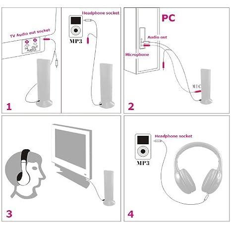 Kingzer negro 5-in-1 auriculares inalámbricos de alta fidelidad Monitor Audio teléfono FM MP3 pc TV: Amazon.es: Electrónica