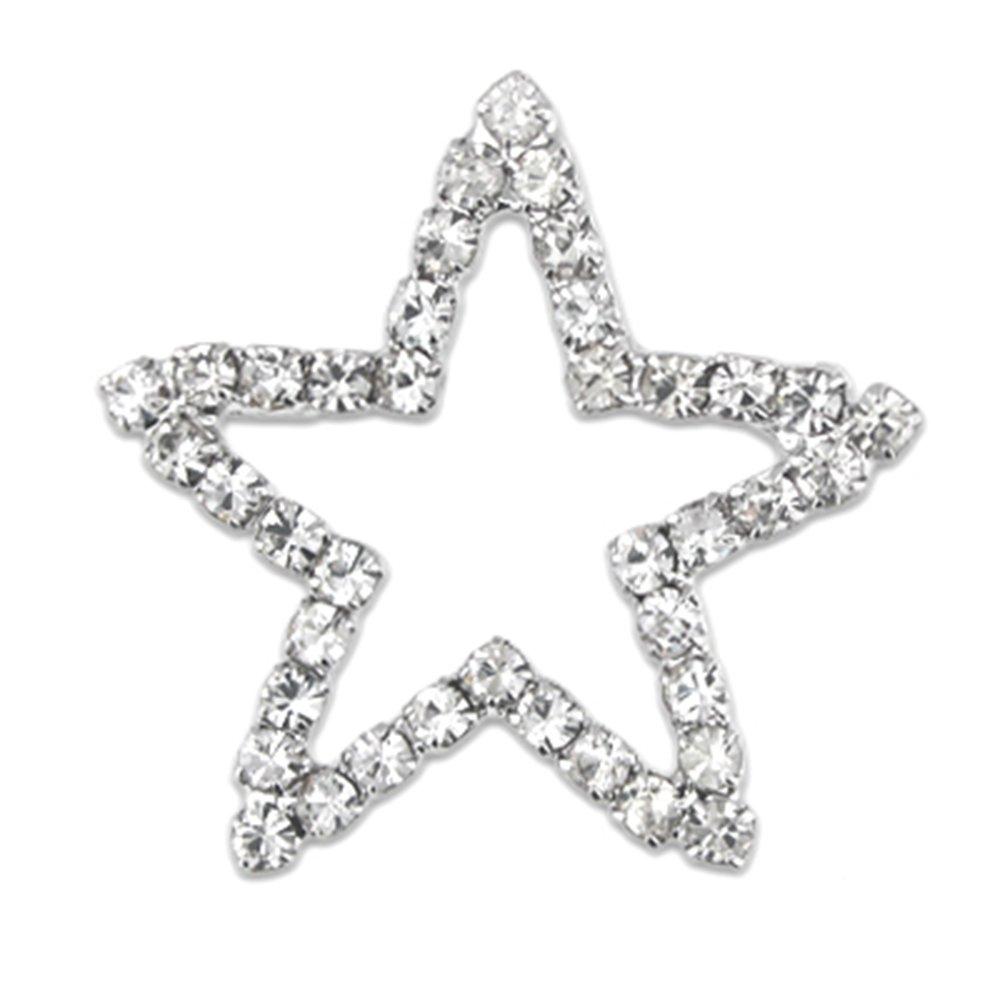 PinMart's Silver Plated Shiny Rhinestone Star Brooch Pin