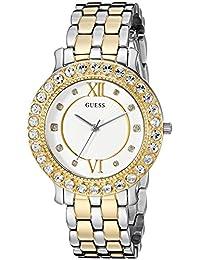 GUESS - Reloj de acero inoxidable con vidrio para mujer, plateado y dorado, Una talla