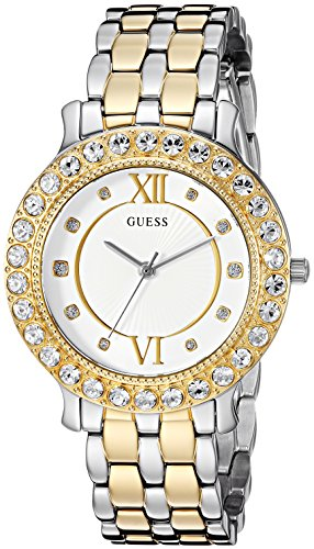 - GUESS Women's Japanese-Quartz Watch with Stainless-Steel Strap, Color: Silver/Gold-Tone, 11: ((Model: U1062L4))