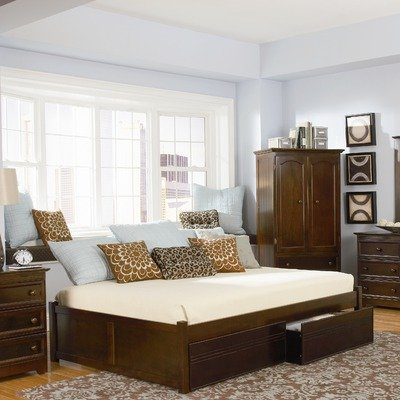 Concord Storage Platform Bed Size: Full, Finish: Antique Walnut Bedroom Maple Poster Bed