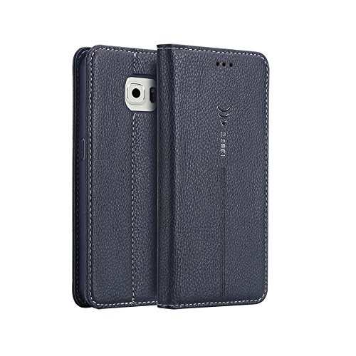 Gebei Glalaxy S6 Edge Plus Case, S6 Edge Plus Case Pu Leather (Magnetic Closure) (Card Packet) (Kick Stand) Wallet Case Cover for S6 Edge Plus (Blue)