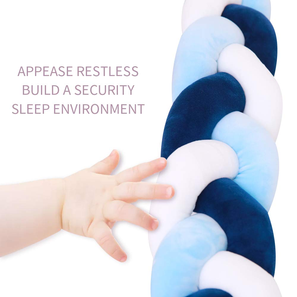 Lion Paw Crib Bed Bumper Pillow Cushion 78.7in Crib Sides Protector Infant Cot Rails Newborn Gift Knotted Braided Plush Nursery Cradle Decor (White-Blue-Dark Blue 78.7in) : Baby