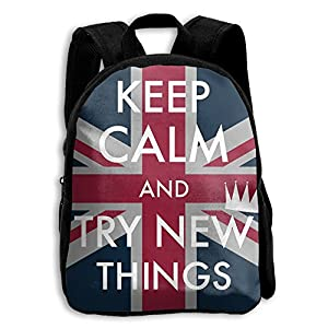 LDPQ5 Keep Clam And Try New Things Backpack Kids School Book Bag For Boys Girls Womens