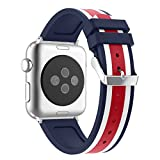 For iWatch Band 38mm Silicone, Aottom Apple Watch Silicone Band 38mm Replacement Band Wrist Bands with Metal Buckle Clasp Bracelet Wristband for 38mm iWatch Band Series 3/2/1 - Red/White/Blue