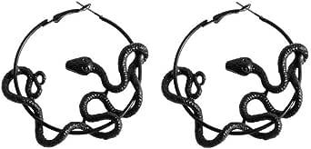 Black Gothic Jewelry Medusa Serpent Hoop Earrings Snake Circle Earrings Women
