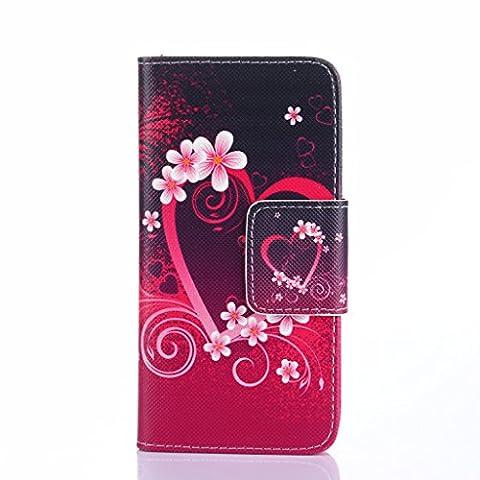 Galaxy Core LTE Case, Galaxy Avant Case, Candy House Samsung Galaxy Core LTE G386 / Galaxy Avant Case Pure Love Heart Pattern Horizontal Wallet Case Magnetic Closure Flip (Samsung Galaxy Core Lte Case G386)