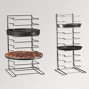 "American Metalcraft 19033 Chrome-Plated Steel Pizza Cooling Rack, Over Size, 10 Shelves, 16"" Square Base, Silver"