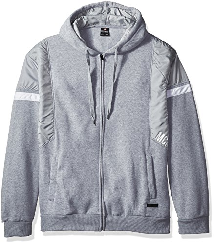 - Southpole Men's Big and Tall Bt Long Sleeve Hooded Fullzip with Nylon Block Detail, Heather Grey, 4XB