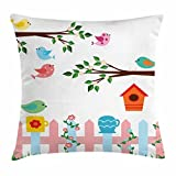 Dick Sidney Birds Throw Pillow Cushion Cover, Pastel Colored Birds in the Yard with Birdhouses Trees and Fence Colorful Cartoon, Decorative Square Accent Pillow Case Multicolor