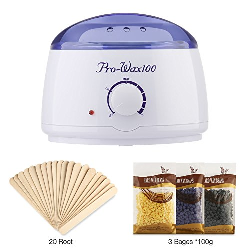 Romeker-Rapid-Melt-Hair-Removal-Waxing-Kit-Electric-Hot-Wax-Warmer-with-3-different-flavors-Hard-Wax-Beans-and-20-Wax-Applicator-Sticks