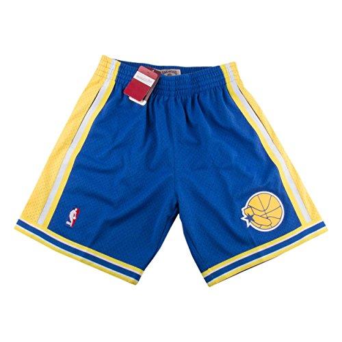 (Mitchell & Ness Mens Golden State Warriors Swingman Shorts Blue/Yellow Size M)