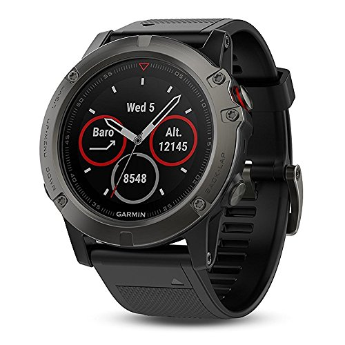 Garmin Fenix 5X Sapphire Black with Black Band 51mm GPS/Glonass Multisport Watch 010 01733 00 and Three Additional Wearable4U Quick Release Silicone Watch Bands Bundle