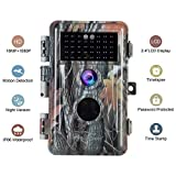 BlazeVideo 16MP 1080P Game Trail Hunting Deer Wildlife Camera Camouflage, Hunter Scouting Security