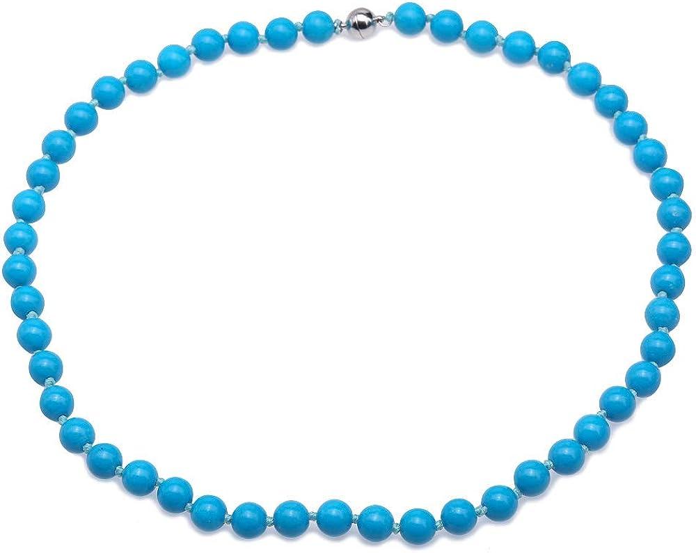 JYX - Collar de Piedras Preciosas Redondas de 8,5 mm con Colgante de Turquesa facetada Azul Turquesa para Mujer, 48 cm
