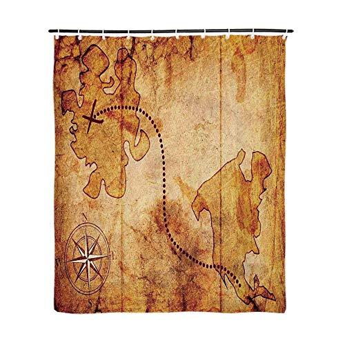 35' Atlas - TecBillion Compass Fashionable Shower Curtain,Bohemian Style Treasure Hunt Map with Small Compass Paint on It Manuscript Atlas Finding for Bathroom,72''L x 35''W