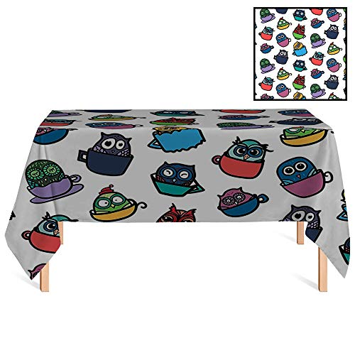 SATVSHOP Dust-Proof Table Cover /70x132 Rectangular,Owls Home Funny Owl in Coffee Tea Espresso Mug Cup Good Morning Cafe Childish Cheerful Art.for Wedding/Banquet/Restaurant.