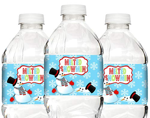 POP parties Snowman Bottle Wraps - 20 Snowman Water Bottle Labels - Snowman Party Decorations - Snowman Party Supplies - ()