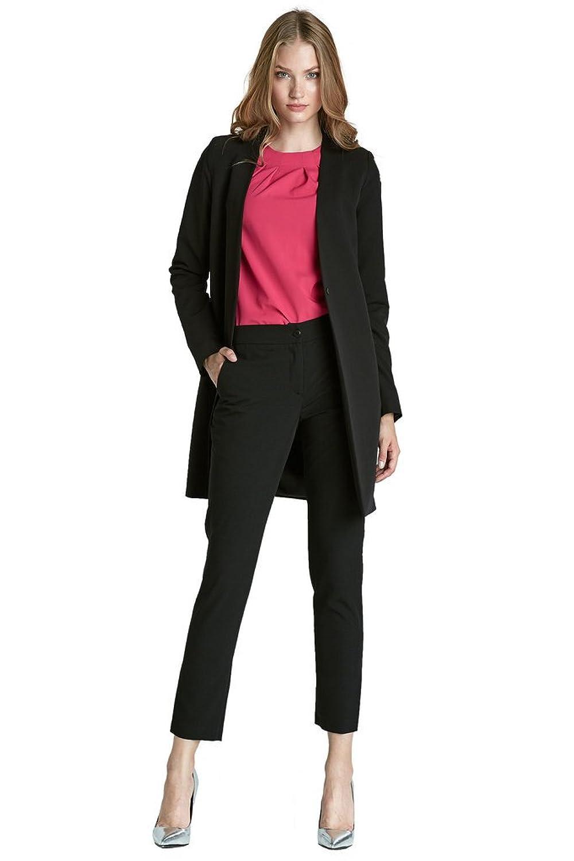 VictoriaV - Damen Mantel kurz bzw. Blazer lang ( Longblazer ) schwarz mit langen Ärmeln, kurzer Damenmantel bzw. Damen Blazer ohne Verschluss ohne Revers