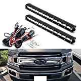 iJDMTOY Front Grille LED Light Bar Kit For 2018-up Ford F150 XL XLT, Includes (2) 36W Slim High Power CREE LED Lightbars, Front Grill Mounting Brackets & On/Off Switch Wiring Kit