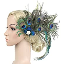 Zivyes 1920s Peacock Feather Costume Hair Clip Flapper Headpiece Hat Accessory