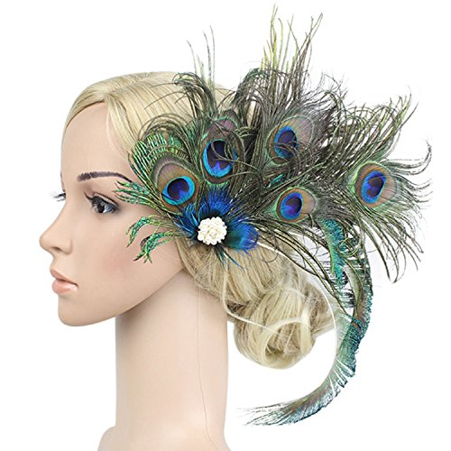 Gatsby Girl Adult Costumes (1920s Peacock Feather Costume Hair Clip Flapper Headpiece Hat Accessory)