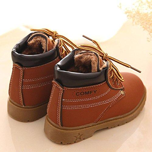 Baby Stiefel,Chshe Gute Qualität Dichotomanthes Pu - Leder Plus Baumwolle Winter Schcik Armee-Art Schick Martin jungen mädchen kind Stiefel Warm Schuhe Braun