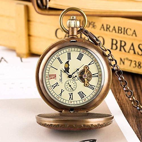 YXZQ懐中時計、レトロコッパーメカニカルトゥールビヨンフェーズムーンサン手巻きヴィンテージグッズ時計