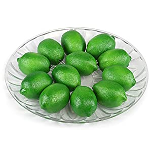 Kesoto 12pcs Artificial Lifelike Simulation Green Lemon Fake Fruit House Kitchen Party Decoration, 2.8 x 2 Inches 89