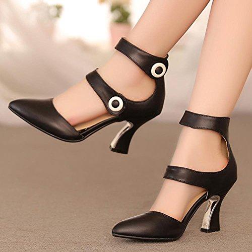 FANIMILA Mujer Moda Strappy Verano Cerrado Tacon Alto Zapatos Negro