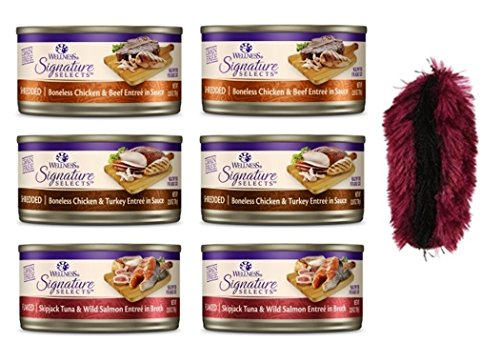 Wellness Signature Selects Grain Free Cat Food 3 Flavor Variety 6 Can Bundle with Toy, (2) each: Shredded Chicken Turkey, Shredded Chicken Beef, and Flaked Skipjack Tuna Salmon (2.8 Ounces)
