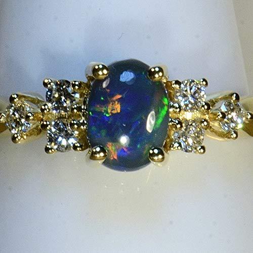 Solid black Lightning Ridge Australia opal & diamond 18k gold dress/engagement ring (15065) ()