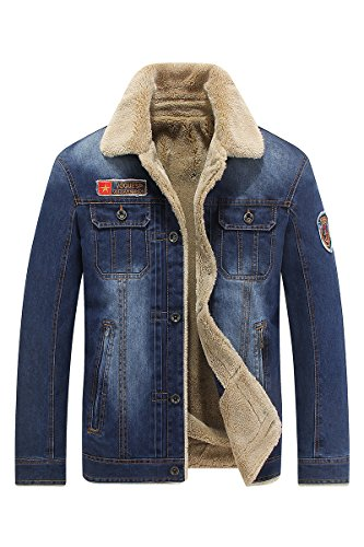 Winter-Herren-Jacken beiläufige Denim-Jeans plus Samt Warm 66009A (XL, hellblau)