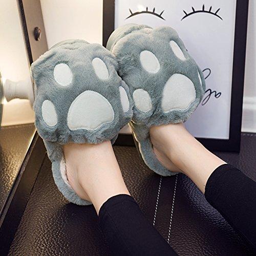 Fankou carino pantofole di cotone femmina cartoon inverno soggiorno anti-slittamento stereo spessa gatto paw ,38-39,A- verde pantofole di cotone