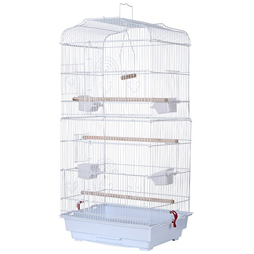 Bird Cage,36'' Metal Birdcage for Parrot Cockatiel Canary Finch (White) by yoyoung