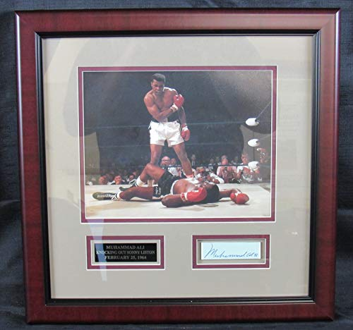 - Muhammad Ali Signed Framed Cut Signature w/ 8x10 Bout vs Liston Photo PSA/DNA II