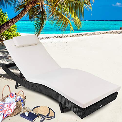 Tangkula Outdoor Patio Chaise Lounge Chair Ergonomic Shape Handwoven Outdoor Patio Pool Furniture with Heavy Padded Non-Slip Cushions Backrest Adjustable Wicker Chaise Lounger (Detached Backyard Decks)