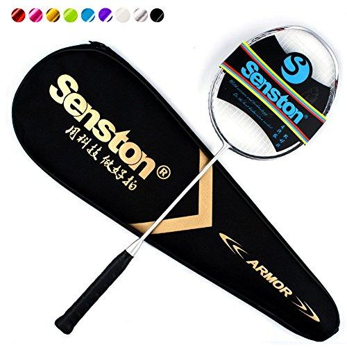 Senston N80 Graphite Single High-Grade Badminton Racquet, Professional Carbon Fiber Badminton Racket, Carrying Bag Included Silver Color