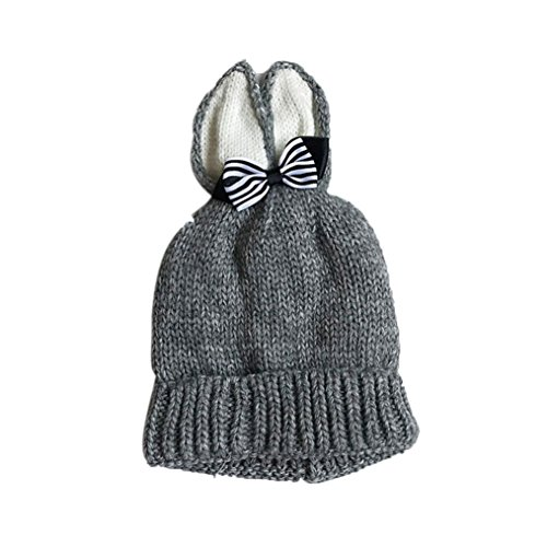 Price comparison product image Vibola Knitted Butterfly Rabbit Ears Baby Toddler Winter Warm Hat (Gray)