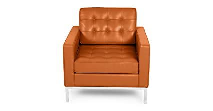 Kardiel 100% Full Premium Florence Knoll Style Arm Chair, Caramel Aniline  Leather