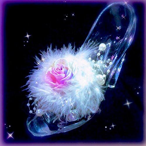 フローラルBABY DOLL プリザーブドフラワー ガラス製ハイヒール ガラスの靴 バラ スワロフスキークリスタル パールホワイトカラーの羽根 (ダイヤモンドパステルレインボーローズ) B01MT511GM