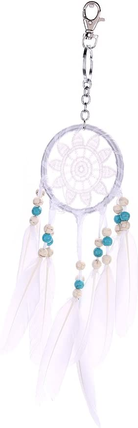 Retro White Feather Dream Catcher Creative Mini Natural Feather Dream Catcher Keychain Decor Car Home Hanging Dreamcatcher