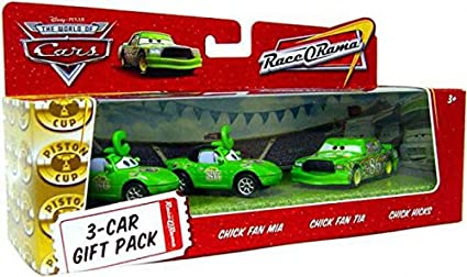Amazon Com Disney Pixar Cars Movie 1 55 Die Cast Cars 3 Car Gift Pack Chick Fan Mia Chick Fan Tia And Chick Hicks Toys Games