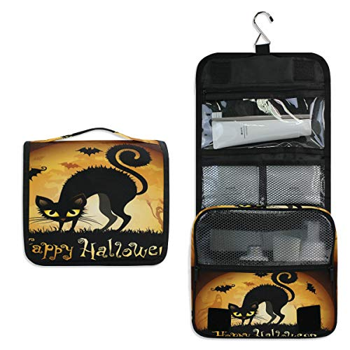 Makeup Bag Halloween Cat Moon Cosmetic Pouch Large Travel Organizer Portable Train Case Hanging Toiletry Bag for Women Girl Men -